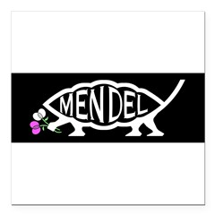"Mendel Fish Square Car Magnet 3"" x 3"""