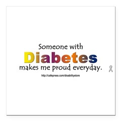 "Diabetes Pride Square Car Magnet 3"" x 3"""