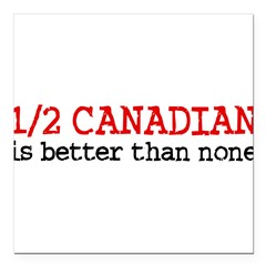 "Half Canadian Square Car Magnet 3"" x 3"""