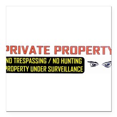 "3 x 10 No Trespassing Decal Square Car Magnet 3"" x 3"""