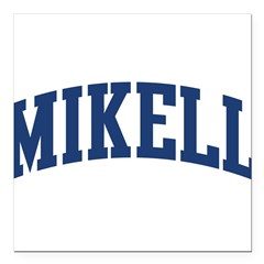 "MIKELL design (blue) Square Car Magnet 3"" x 3"""
