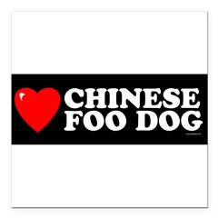 "CHINESE FOO DOG Square Car Magnet 3"" x 3"""