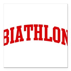 "Biathlon (red curve) Square Car Magnet 3"" x 3"""