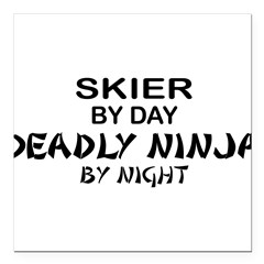 "Skier Deadly Ninja Square Car Magnet 3"" x 3"""