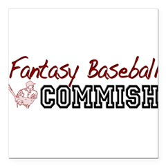 "Fantasy Baseball Commish Square Car Magnet 3"" x 3"""