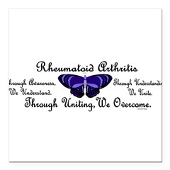"Butterfly Awareness 1 (Rheumatoid Arthritis) Square Car Magnet 3"" x 3"""