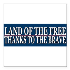 "Patriotic - American Veteran Square Car Magnet 3"" x 3"""