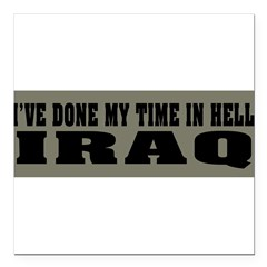 "Iraq-Hell Square Car Magnet 3"" x 3"""