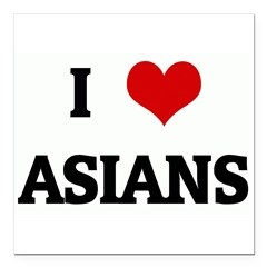 "I Love ASIANS Square Car Magnet 3"" x 3"""