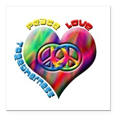"Peace Love Togetherness Square Car Magnet 3"" x 3"""