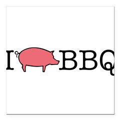 "I Cook BBQ Square Car Magnet 3"" x 3"""