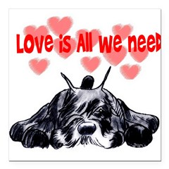 "schnauzer love Square Car Magnet 3"" x 3"""