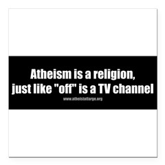 "Atheism TV Square Car Magnet 3"" x 3"""