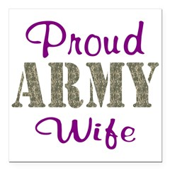"Army Purple Home/Office Square Car Magnet 3"" x 3"""