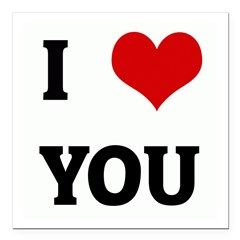 "I Love YOU Square Car Magnet 3"" x 3"""