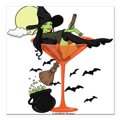"Halloween Martini Girl Square Car Magnet 3"" x 3"""