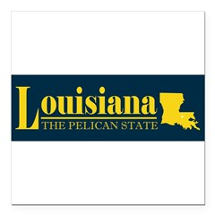 "Louisiana Gold Square Car Magnet 3"" x 3"""