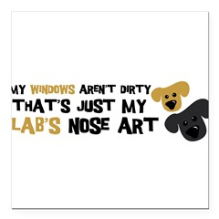 "Lab Nose Art Square Car Magnet 3"" x 3"""