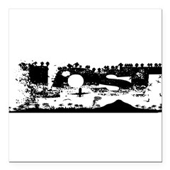 "Lost Island White Square Car Magnet 3"" x 3"""