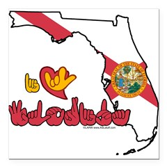 "ILY Florida Square Car Magnet 3"" x 3"""