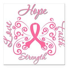 "Breast Cancer Butterfly Hope Square Car Magnet 3"" x 3"""