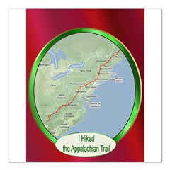 "Hiked the A.T. Square Car Magnet 3"" x 3"""