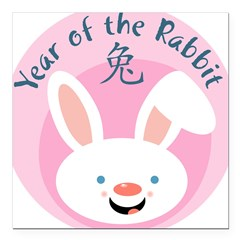 "Year of the Rabbit Square Car Magnet 3"" x 3"""