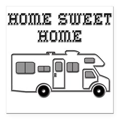 "Home Sweet Home Mini Motorhome Square Car Magnet 3"" x 3"""