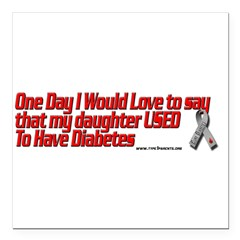 "daughter used red Square Car Magnet 3"" x 3"""