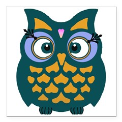 "Retro Owl Square Car Magnet 3"" x 3"""