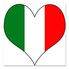 "Italy Heart Square Car Magnet 3"" x 3"""
