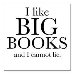 "I LIke Big Books Square Car Magnet 3"" x 3"""