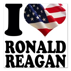 "I heart American Flag Ronald Square Car Magnet 3"" x 3"""