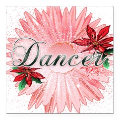 "Dancer Pink Snow Flower Square Car Magnet 3"" x 3"""