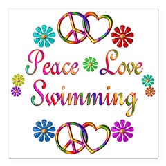 "Peace Love Swimming Square Car Magnet 3"" x 3"""