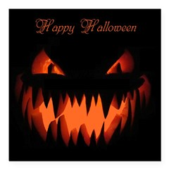 "Happy Halloween Pumpkin Square Car Magnet 3"" x 3"""