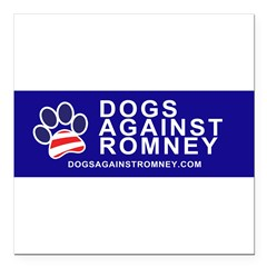"Official Dogs Against Romney Paw Square Car Magnet 3"" x 3"""
