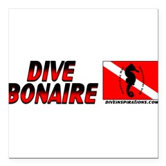 "Dive Bonaire (red) Square Car Magnet 3"" x 3"""