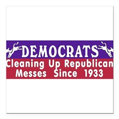 "Democrats Square Car Magnet 3"" x 3"""