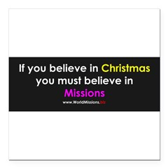 "Christmas & Mission Square Car Magnet 3"" x 3"""