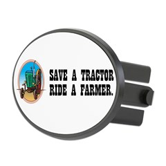 Save a Tractor, Ride a Farmer Oval Hitch Cover