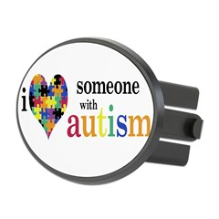 I HEART Someone with Autism - Oval Hitch Cover