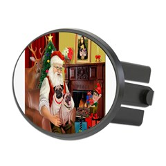 Santa's fawn Pug pair Oval Hitch Cover