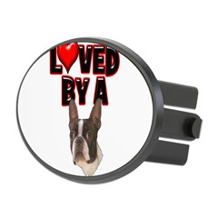 Loved by a Boston Terrier Oval Hitch Cover
