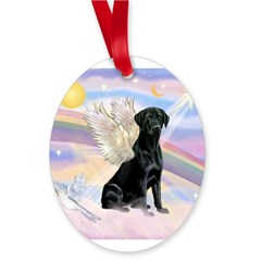 Black Lab Angel Oval Ornament