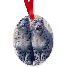 Twin Snow Leopard Cubs Oval Ornament
