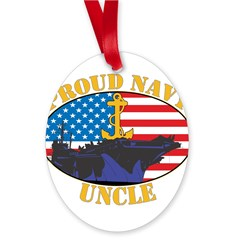 Proud Navy Uncle Oval Ornament