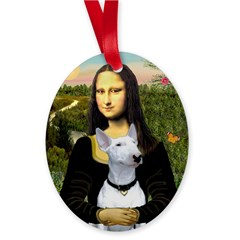 Mona Lisa /Bull Terrier Oval Ornament