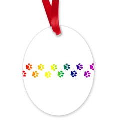 Paws All Over You Oval Ornament