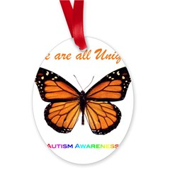 Butterfly: Autism Awareness Oval Ornament